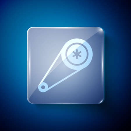 White Timing belt kit icon isolated on blue background. Square glass panels. Vector Illustration Illustration
