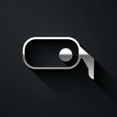 Silver Car rearview mirror icon isolated on black background. Long shadow style. Vector Illustration