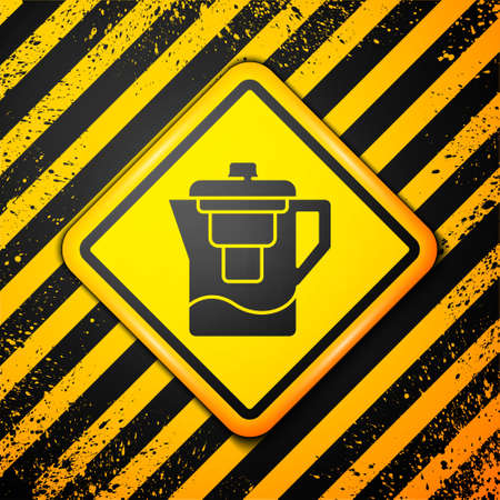 Black Water jug with a filter icon isolated on yellow background. Warning sign. Vector Illustration