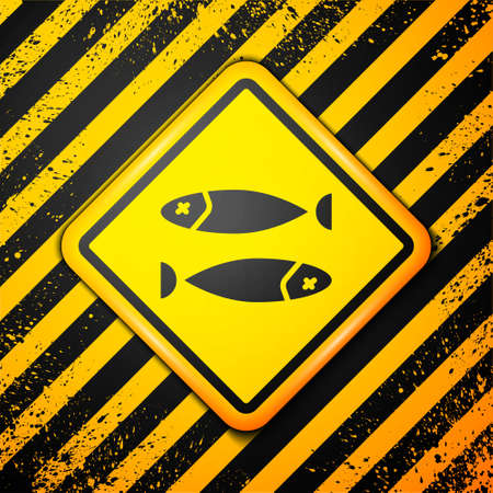 Black Dried fish icon isolated on yellow background. Warning sign. Vector Illustration