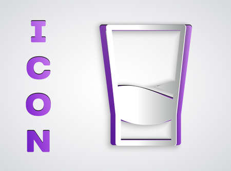 Paper cut Glass of vodka icon isolated on grey background. Paper art style. Vector Illustration