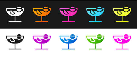 Set Cocktail icon isolated on black and white background. Vector Illustration