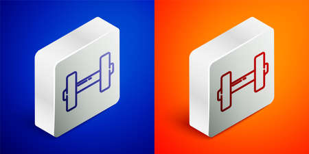 Isometric line Dumbbell icon isolated on blue and orange background. Muscle lifting icon, fitness barbell, gym, sports equipment, exercise bumbbell. Silver square button. Vector Illustration Ilustrace