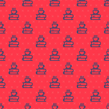 Blue line Coffee cup and book icon isolated seamless pattern on red background. Tea cup. Hot drink coffee. Vector Illustration 向量圖像