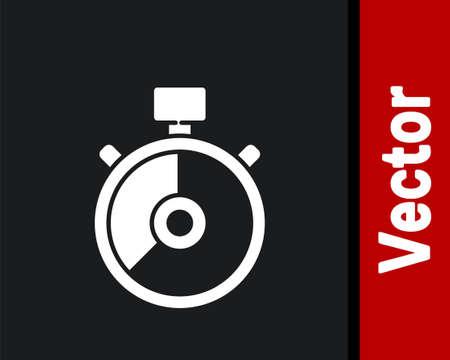 White Stopwatch icon isolated on black background. Time timer sign. Chronometer sign. Vector Illustration Çizim