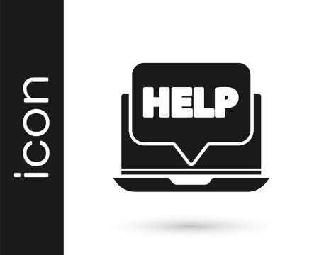 Grey Laptop and help icon isolated on white background. Adjusting, service, setting, maintenance, repair, fixing. Vector Illustration