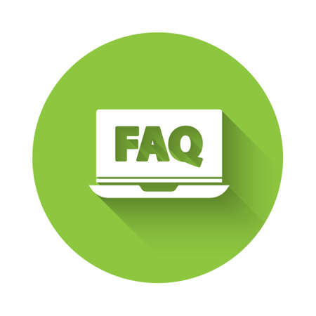 White Laptop and FAQ icon isolated with long shadow. Adjusting, service, setting, maintenance, repair, fixing. Green circle button. Vector Illustration