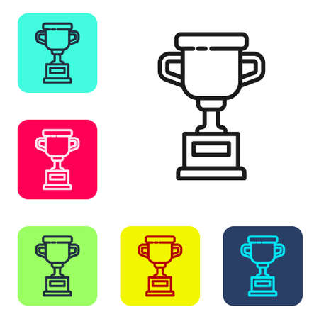 Black line Award cup icon isolated on white background. Winner trophy symbol. Championship or competition trophy. Sports achievement sign. Set icons in color square buttons. Vector Illustration