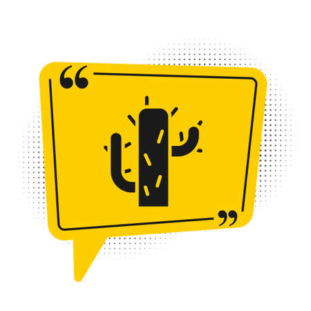 Black Cactus icon isolated on white background. Yellow speech bubble symbol. Vector Illustration Ilustrace