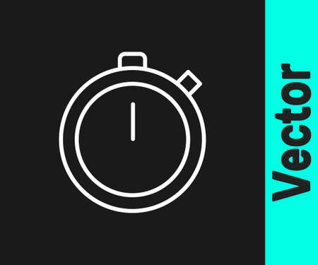 White line Stopwatch icon isolated on black background. Time timer sign. Chronometer sign. Vector Illustration