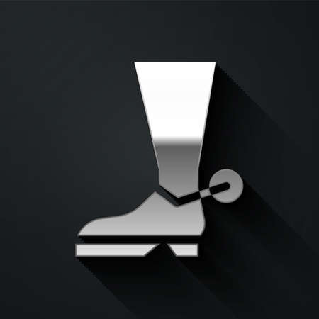 Silver Cowboy boot icon isolated on black background. Long shadow style. Vector Illustration