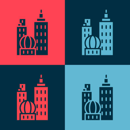 Pop art City landscape icon isolated on color background. Metropolis architecture panoramic landscape. Vector Illustration Illusztráció