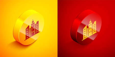 Isometric City landscape icon isolated on orange and red background. Metropolis architecture panoramic landscape. Circle button. Vector Illustration