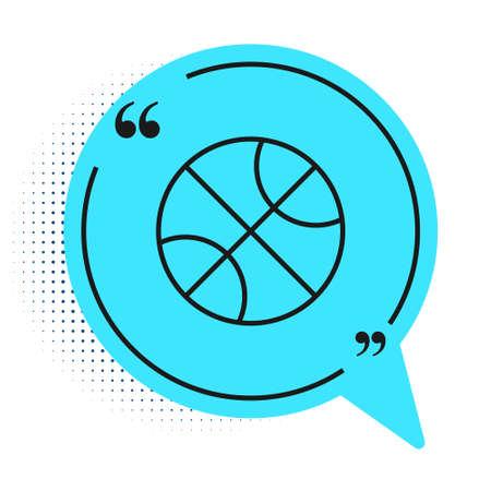 Black line Basketball ball icon isolated on white background. Sport symbol. Blue speech bubble symbol. Vector Illustration Illustration
