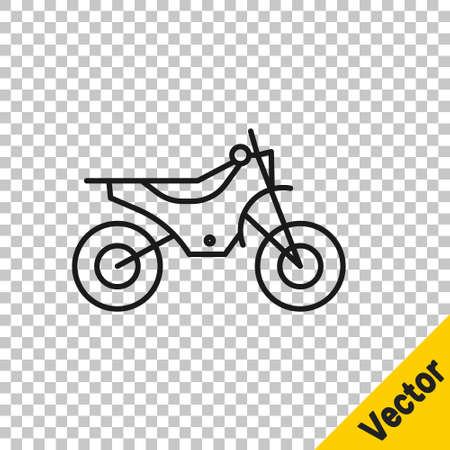 Black line Mountain bike icon isolated on transparent background. Vector Illustration