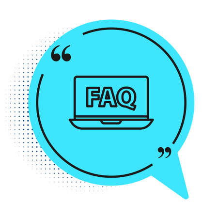 Black line Laptop and FAQ icon isolated on white background. Adjusting, service, setting, maintenance, repair, fixing. Blue speech bubble symbol. Vector Illustration Иллюстрация