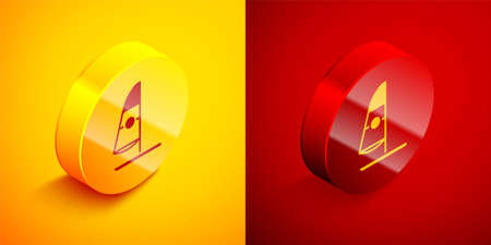 Isometric Windsurfing icon isolated on orange and red background. Circle button. Vector Illustration