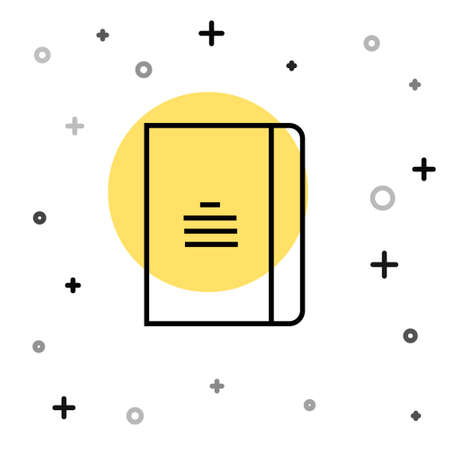 Black line Notebook icon isolated on white background. Spiral notepad icon. School notebook. Writing pad. Diary for school. Random dynamic shapes. Vector Illustration Illustration