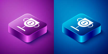 Isometric Award cup icon isolated on blue and purple background. Winner trophy symbol. Championship or competition trophy. Sports achievement sign. Square button. Vector Illustration