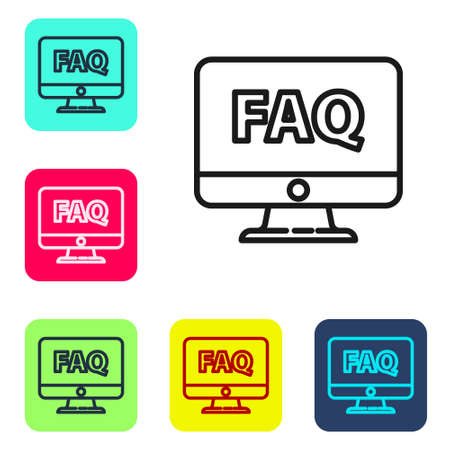 Black line Computer monitor and FAQ icon isolated on white background. Adjusting, service, setting, maintenance, repair, fixing. Set icons in color square buttons. Vector Illustration Иллюстрация