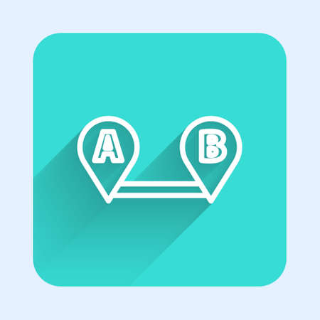 White line Route location icon isolated with long shadow. Map pointer sign. Concept of path or road. GPS navigator. Green square button. Vector Illustration
