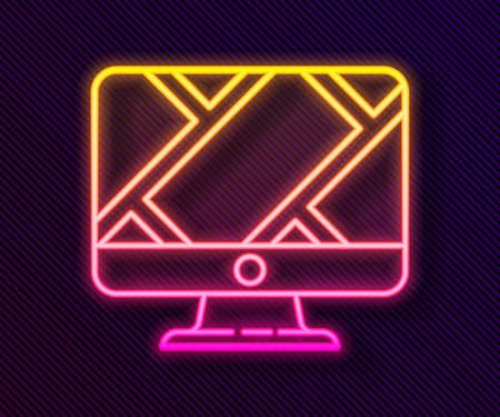 Glowing neon line Computer monitor and folded map with location marker icon isolated on black background. Vector Illustration