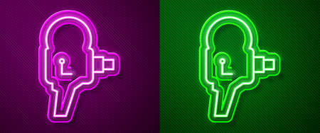 Glowing neon line Retro cinema camera icon isolated on purple and green background. Video camera. Movie sign. Film projector. Vector Illustration