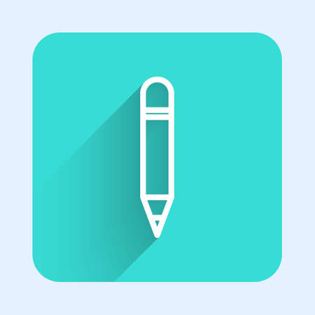White line Pencil with eraser icon isolated with long shadow. Drawing and educational tools. School office symbol. Green square button. Vector Illustration 向量圖像