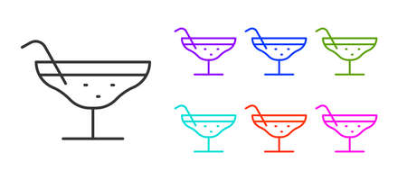Black line Cocktail icon isolated on white background. Set icons colorful. Vector Illustration