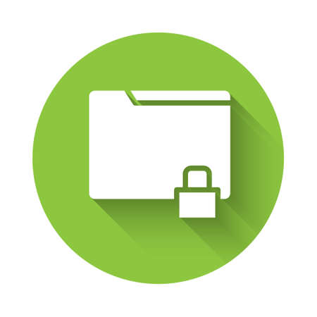 White Folder and lock icon isolated with long shadow. Closed folder and padlock. Security, safety, protection concept. Green circle button. Vector Illustration