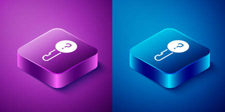 Isometric Undefined key icon isolated on blue and purple background. Square button. Vector Illustration