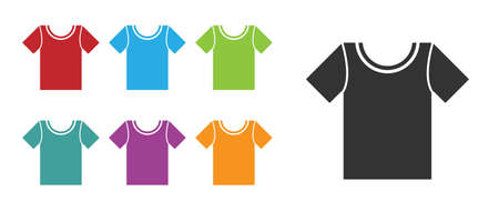 Black T-shirt icon isolated on white background. Set icons colorful. Vector Illustration.