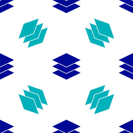 Blue Layers clothing textile icon isolated seamless pattern on white background. Element of fabric features. Vector Illustration Vetores