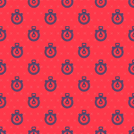 Blue line Stopwatch icon isolated seamless pattern on red background. Time timer sign. Chronometer sign. Vector Illustration Çizim