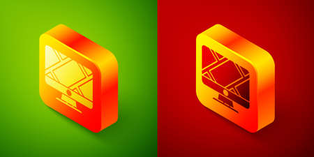 Isometric Computer monitor and folded map with location marker icon isolated on green and red background. Square button. Vector Illustration