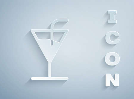 Paper cut Cocktail icon isolated on grey background. Paper art style. Vector Illustration
