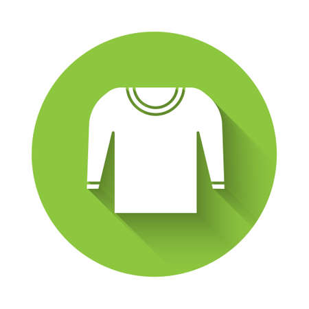 White Sweater icon isolated with long shadow. Pullover icon. Green circle button. Vector Illustration.