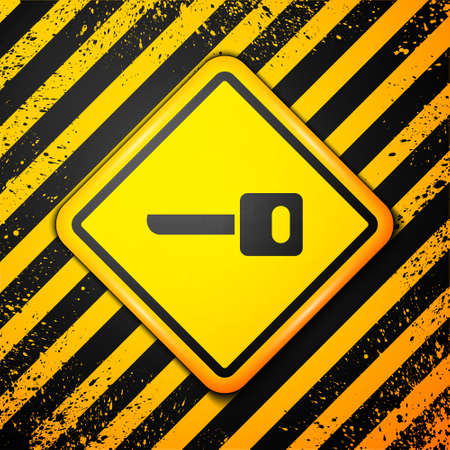 Black Key icon isolated on yellow background. Warning sign. Vector Illustration