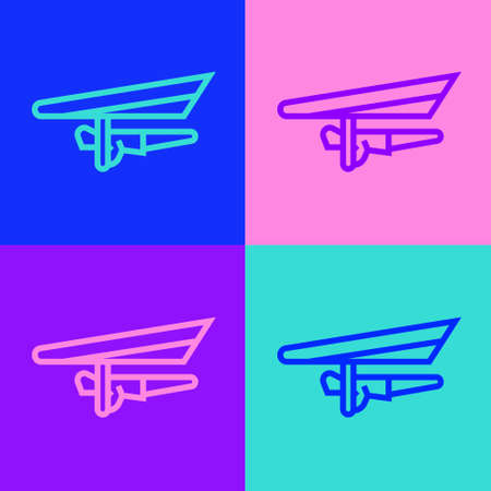 Pop art line Hang glider icon isolated on color background. Extreme sport. Vector Illustration.