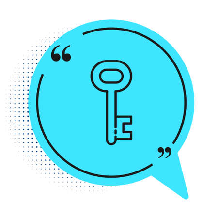 Black line House key icon isolated on white background. Blue speech bubble symbol. Vector Illustration