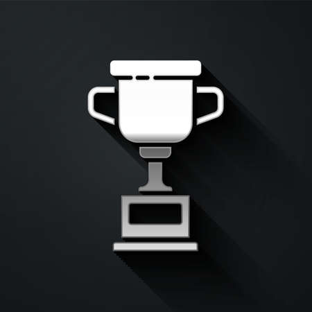Silver Award cup icon isolated on black background. Winner trophy symbol. Championship or competition trophy. Sports achievement sign. Long shadow style. Vector Illustration