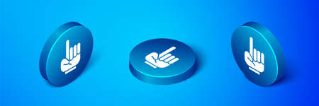 Isometric Number 1 one fan hand glove with finger raised icon isolated on blue background. Symbol of team support in competitions. Blue circle button. Vector Illustration.