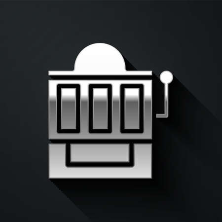Silver Slot machine icon isolated on black background. Long shadow style. Vector Illustration
