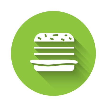 White Burger icon isolated with long shadow. Hamburger icon. Cheeseburger sandwich sign. Fast food menu. Green circle button. Vector Illustration