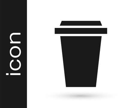 Grey Coffee cup to go icon isolated on white background. Vector Illustration. 向量圖像