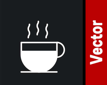 White Coffee cup icon isolated on black background. Tea cup. Hot drink coffee. Vector Illustration.
