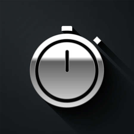 Silver Stopwatch icon isolated on black background. Time timer sign. Chronometer sign. Long shadow style. Vector Illustration. Çizim