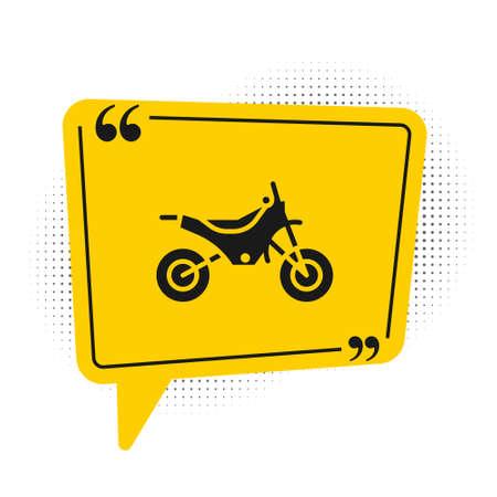 Black Mountain bike icon isolated on white background. Yellow speech bubble symbol. Vector Illustration.