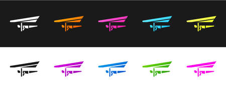 Set Hang glider icon isolated on black and white background. Extreme sport. Vector Illustration.