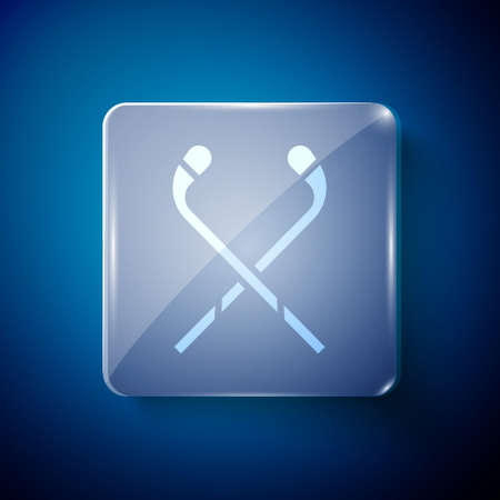 White Ice hockey sticks icon isolated on blue background. Square glass panels. Vector Illustration. Çizim